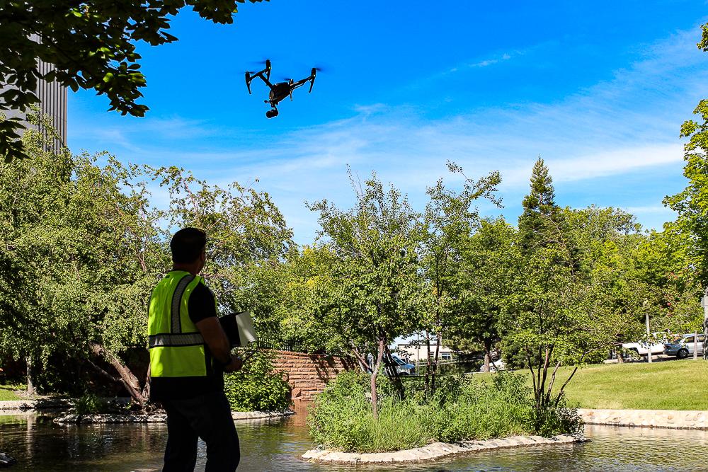 drone being flown in park